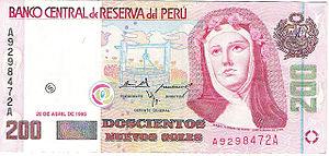 """A nota de 200 soles estampa o rosto da Santa Rosa de Lima e o """"Poço dos Desejos"""", onde os fiéis depositam suas cartas com pedidos todo dia 30 de agosto."""