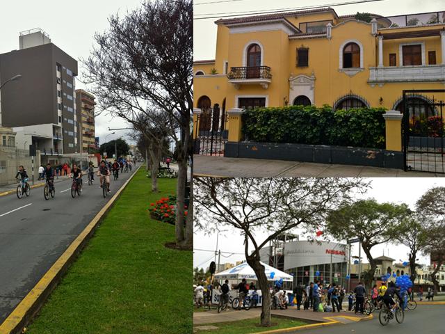 Avenida Arequipa, passeio de bicicleta em Lima, Lima, Casarões