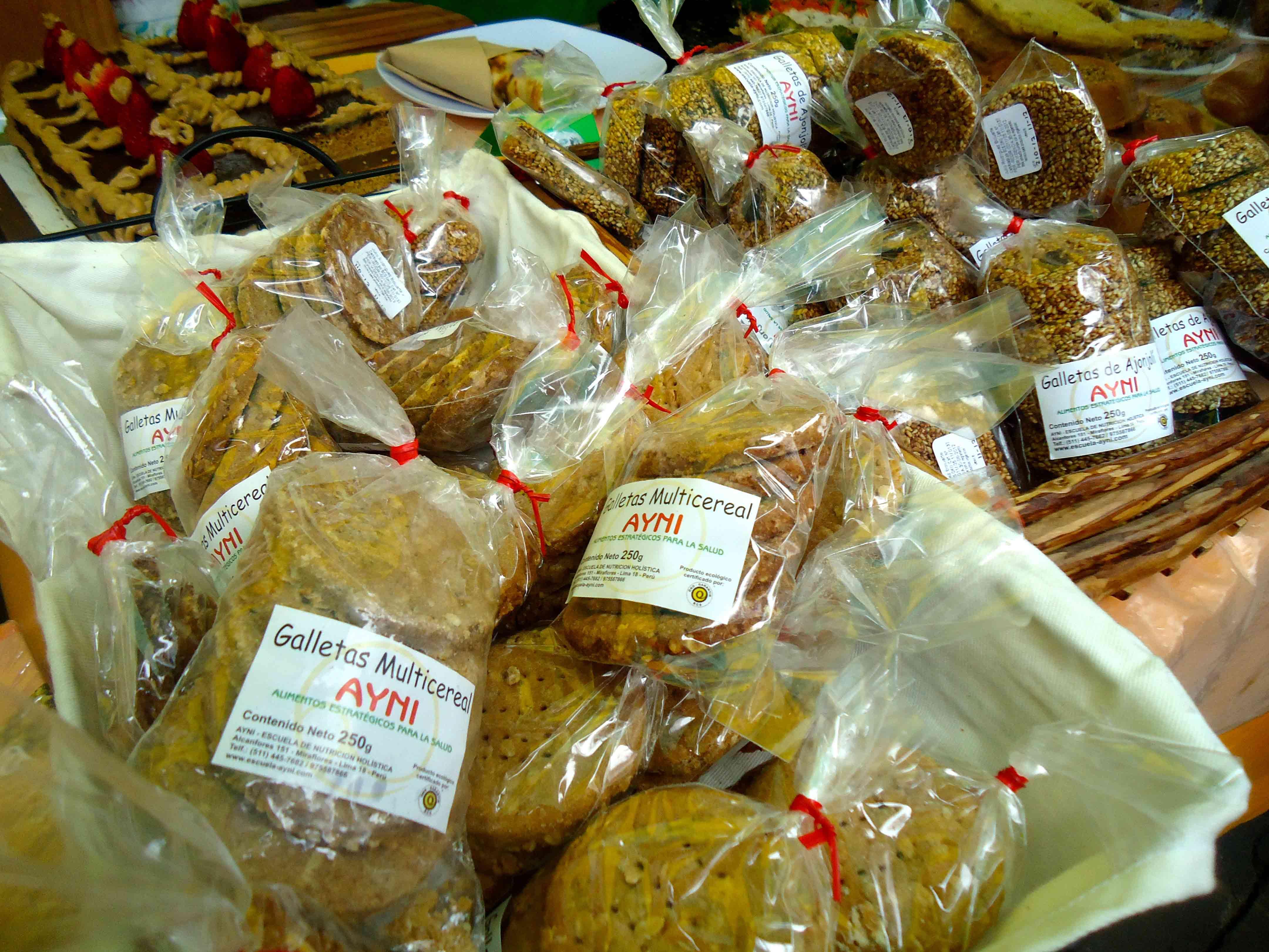 Biscoitos vendidos na feira orgânica de Miraflores