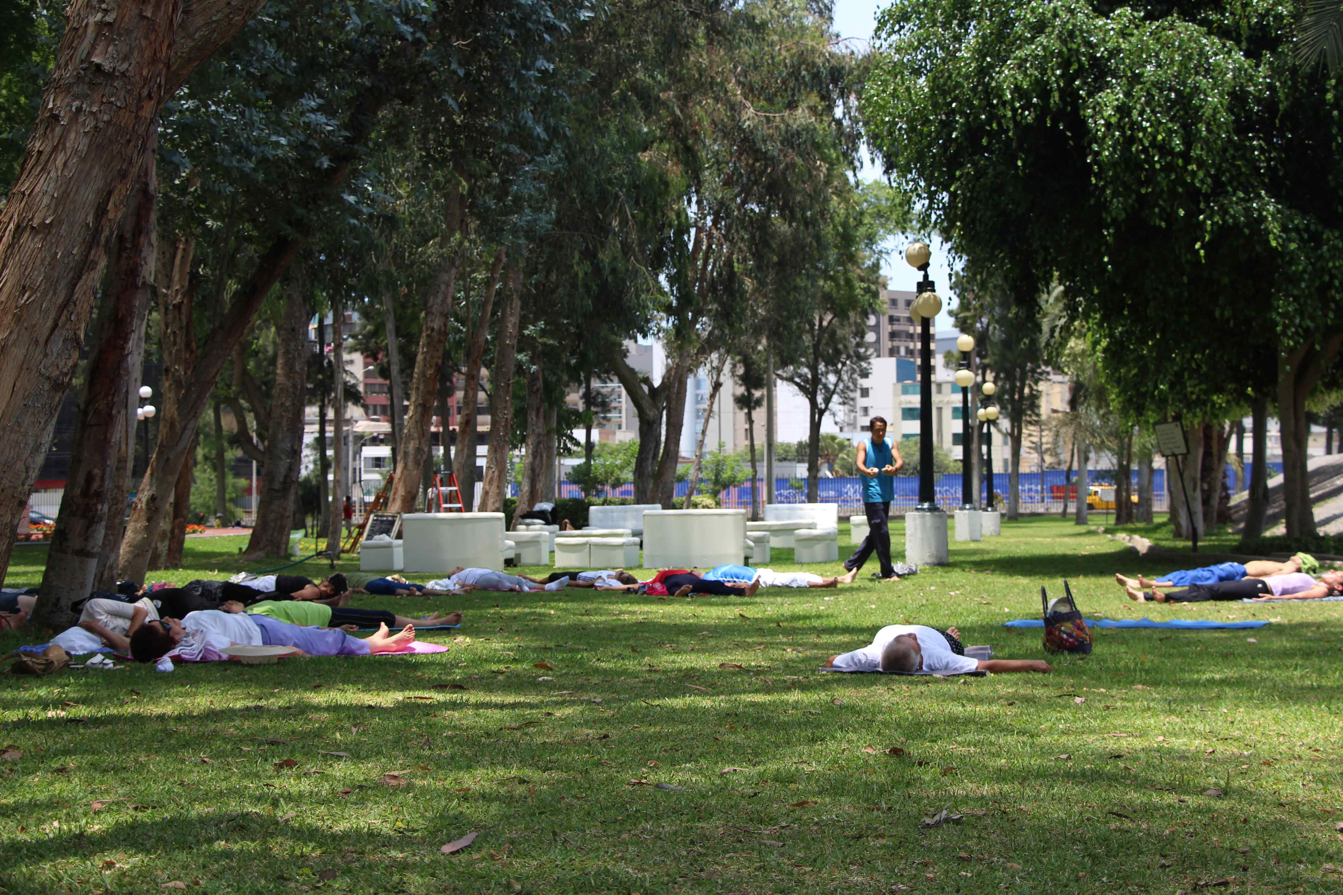 Aula de Yoga no Parque Reducto em Lima