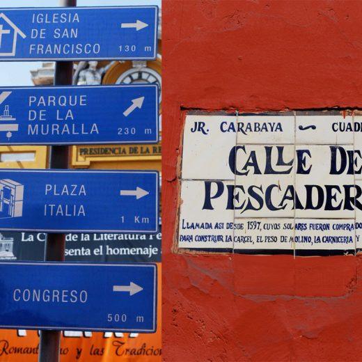 Placas de localização em Lima