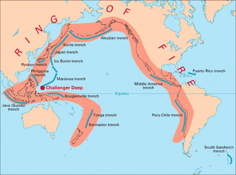 imagem ilustrativa do círculo de fogo do pacífico