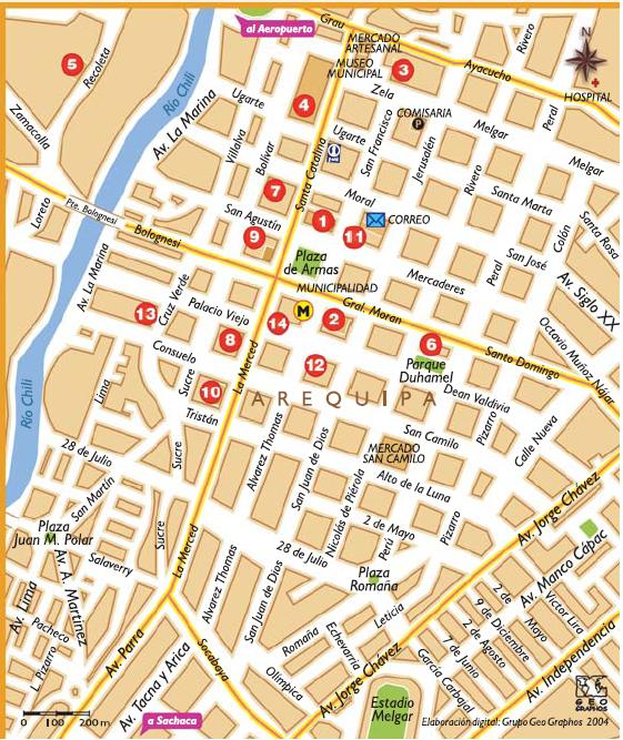 Mapa do Centro Histórico de Arequipa. (Retirado do Guia Oficial PromPeru Arequipa)