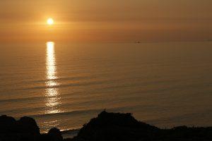 Por do sol em Lima, no Peru, visto do malecón.