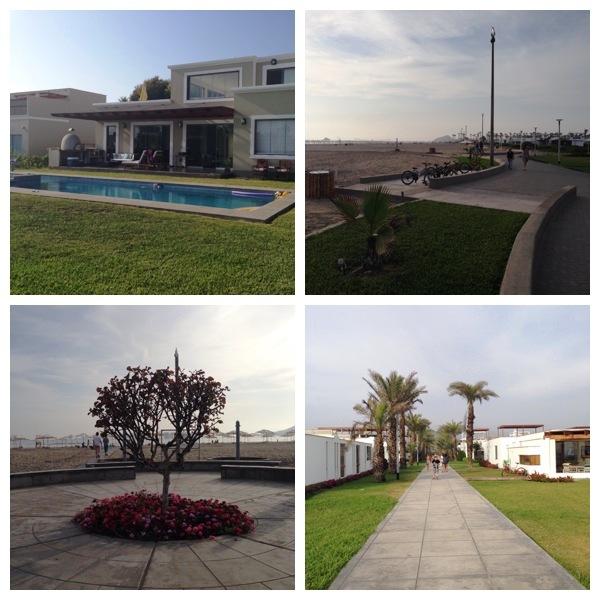 No sentido horário: casa onde ficamos, calçadão, praça e corredor de acesso à praia, os últimos três no mesmo condomínio vizinho ao nosso que tinha acesso à praia