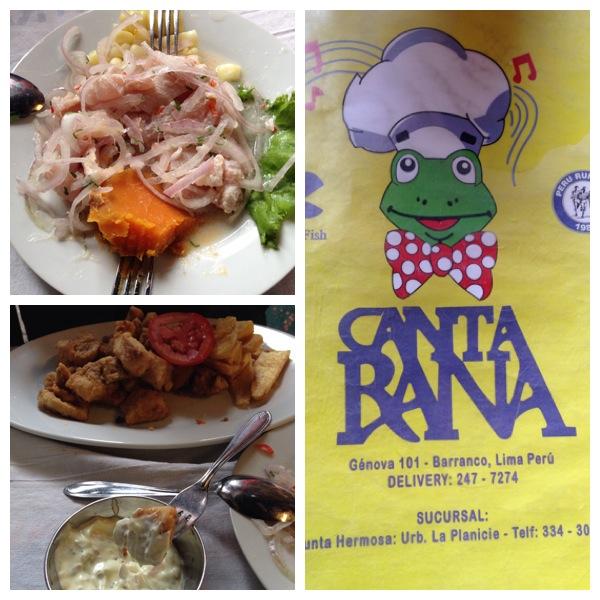 Cebiche de pescado (desculpa a foto, mas eu estava com muita fome e só lembrei de fotografar depois que já tinha garfado uma porção!), chicharrón de pescado e molho tártaro e o cardápio do Canta Rana.