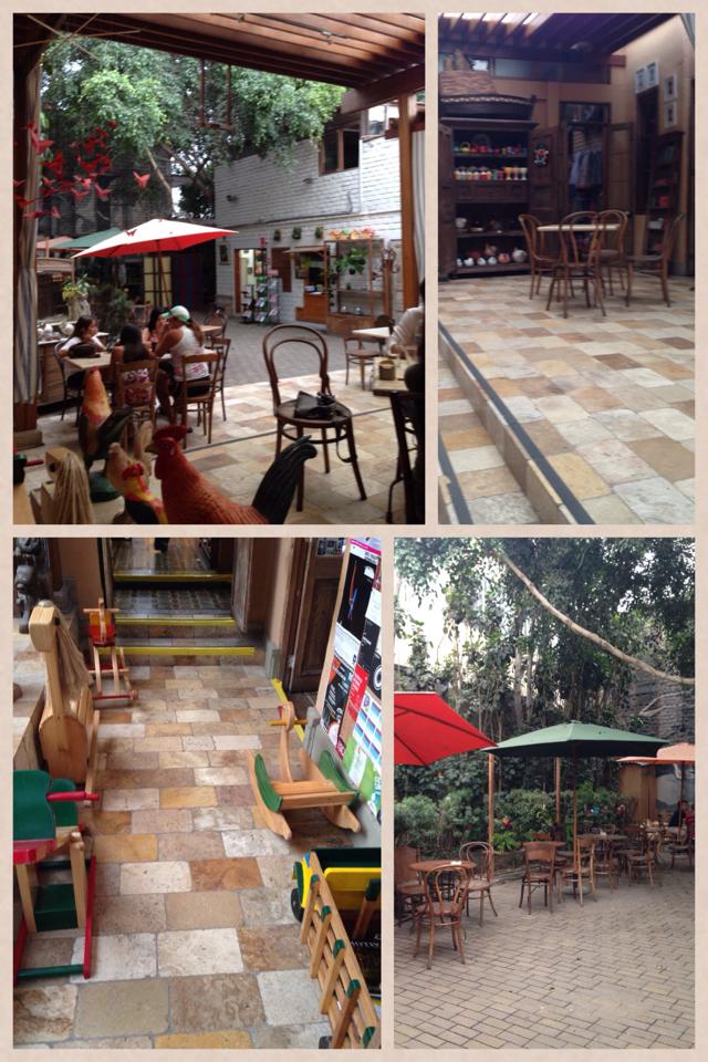 Ambiente externo com jardim e um café delicioso!