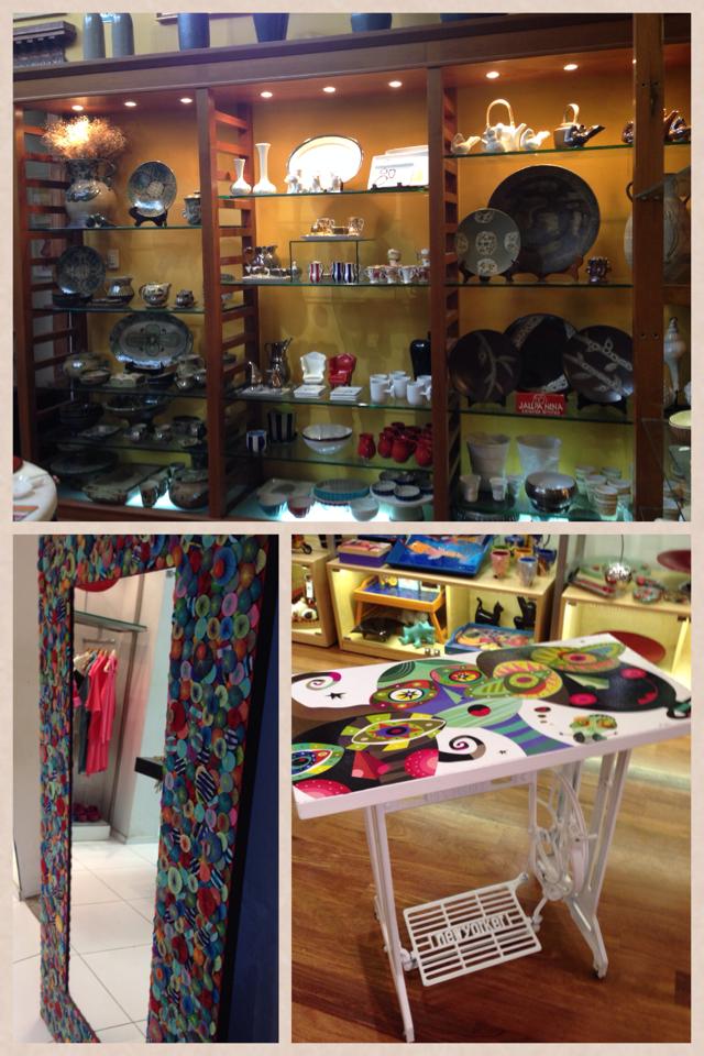 No sentido horário: ambiente com objetos decorativos; mesa feita com reaproveitamento de materiais (na Dédalo no Larcomar) e O espelho despejo desde a primeira vez que entrei na Dédalo