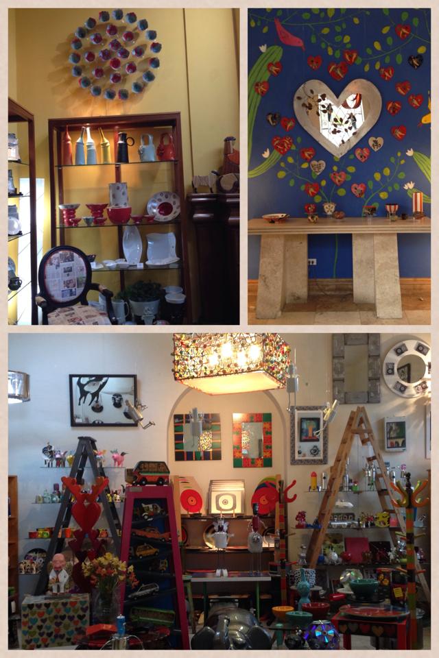 No sentido horário: estante com itens de decoração; mural na entrada em homenagem ao mês dos namorados; ambiente onde estão os objetos mais modernos, com uma pegada mais pop art da galeria