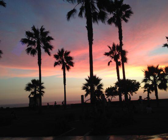 Pôr do sol no calçadão em Lima. Parreiras escurecidas pela luz do pôr do sol. O céu está colorido em tons de azul, lilás, amarelo, laranja e rosa.