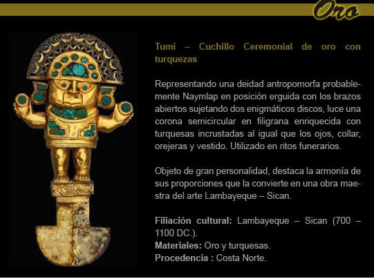 Tumi, a faca usada para cerimônias de sacrifício, tornou-se uma das imagens mais representativas do país. A foto foi retirada do site do Museo Oro del Peru (www.museoroperu.com.pe)