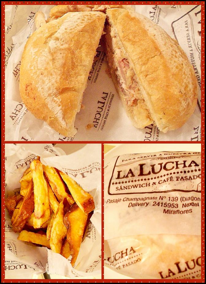 """Lanche """"Pavo a la leña"""" e as batatas fritas huayro."""