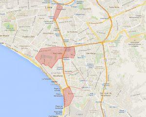 Delimitações dos melhores bairros para se ficar em Lima.