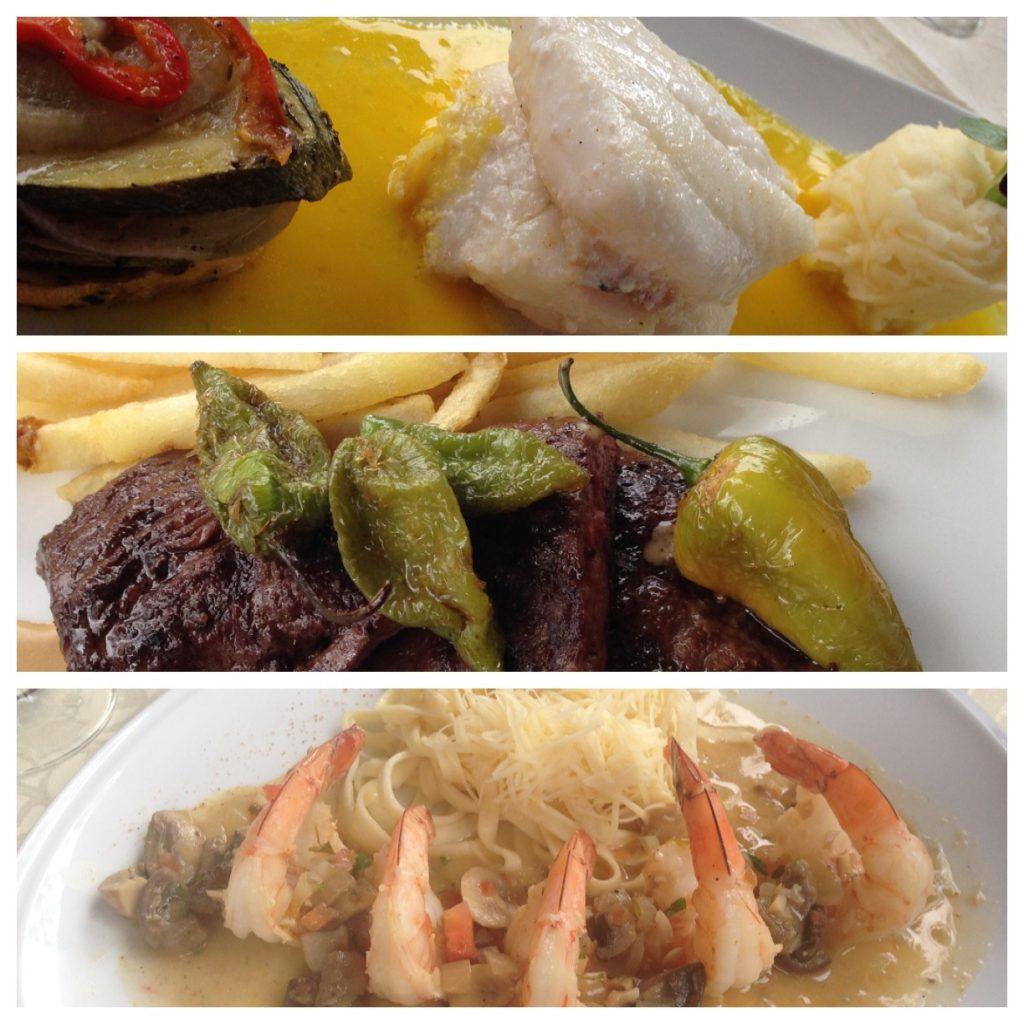 Pescado com molho de açafrão, ratatouille e purê de batata; Filé com batatas fritas e Fetuccine com camarão.