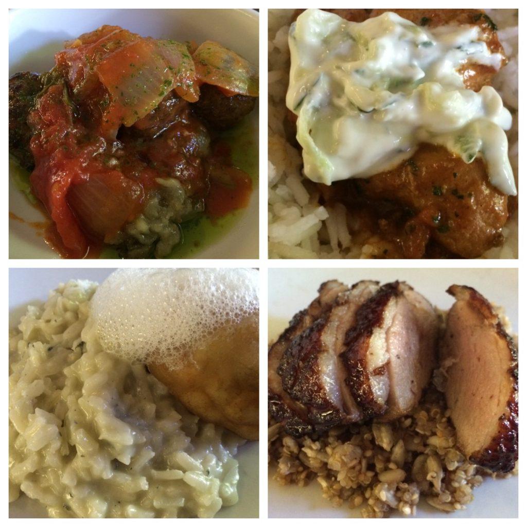 Pratos do 100 grs: Almondegas de cordeiro; Frango indiano; Magret de pato e Risoto de gorgonzola com maçã