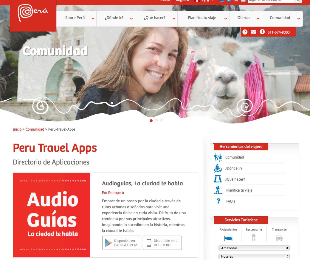 site de turismo da Promperu