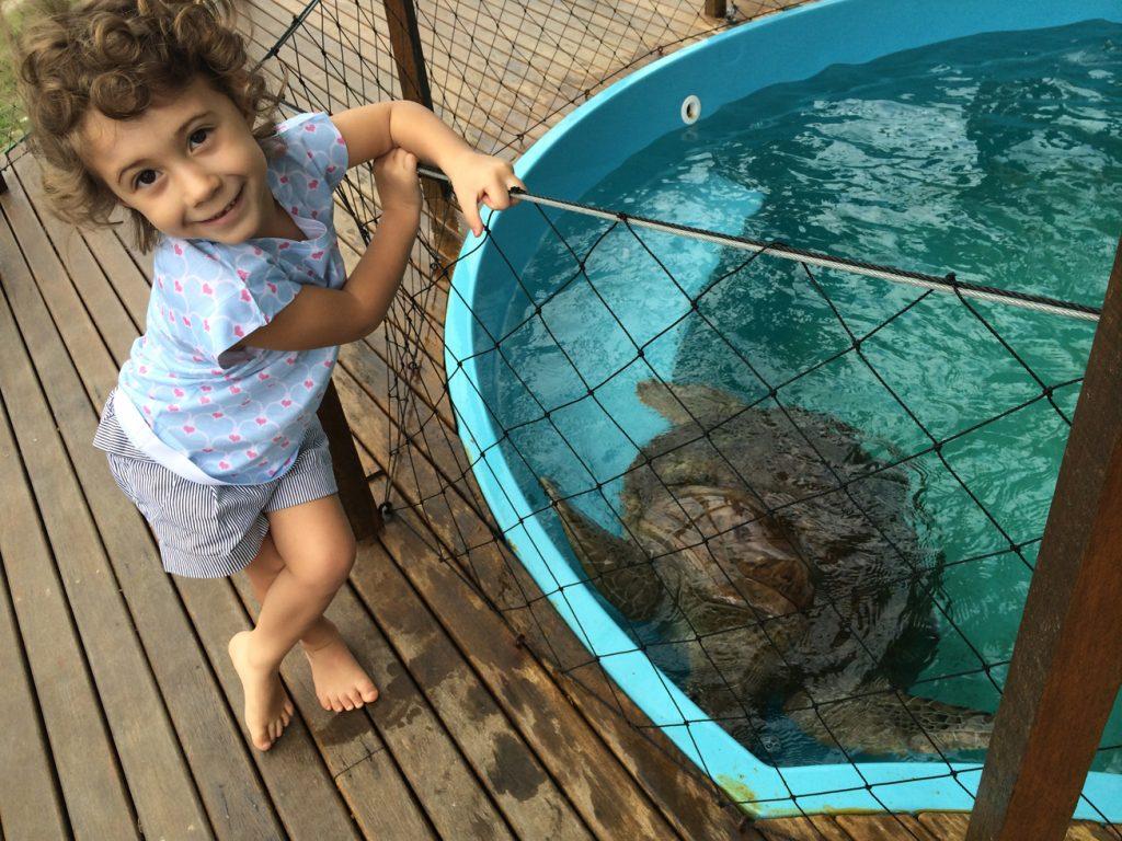 Olivia posando com a tartaruga do Projeto Tamar, em Vitória.
