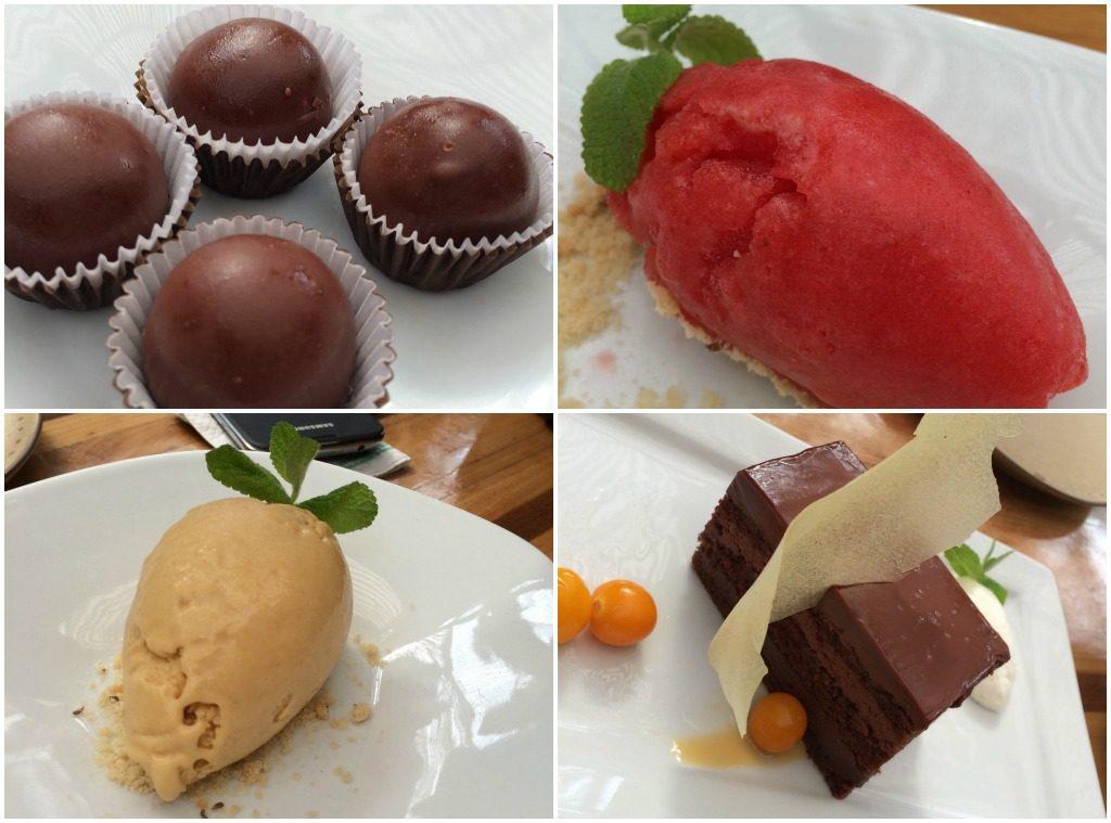 Trufas de chocolate orgânico, sorbet de framboesa, sorvete de lúcuma e 'La torta de chocolate Nanka'.