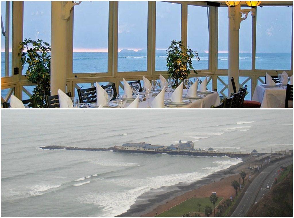 La Rosa Nautica: Na foto de cima, uma visão de dentro do restaurante, na de baixo, sua localização, mar adentro.