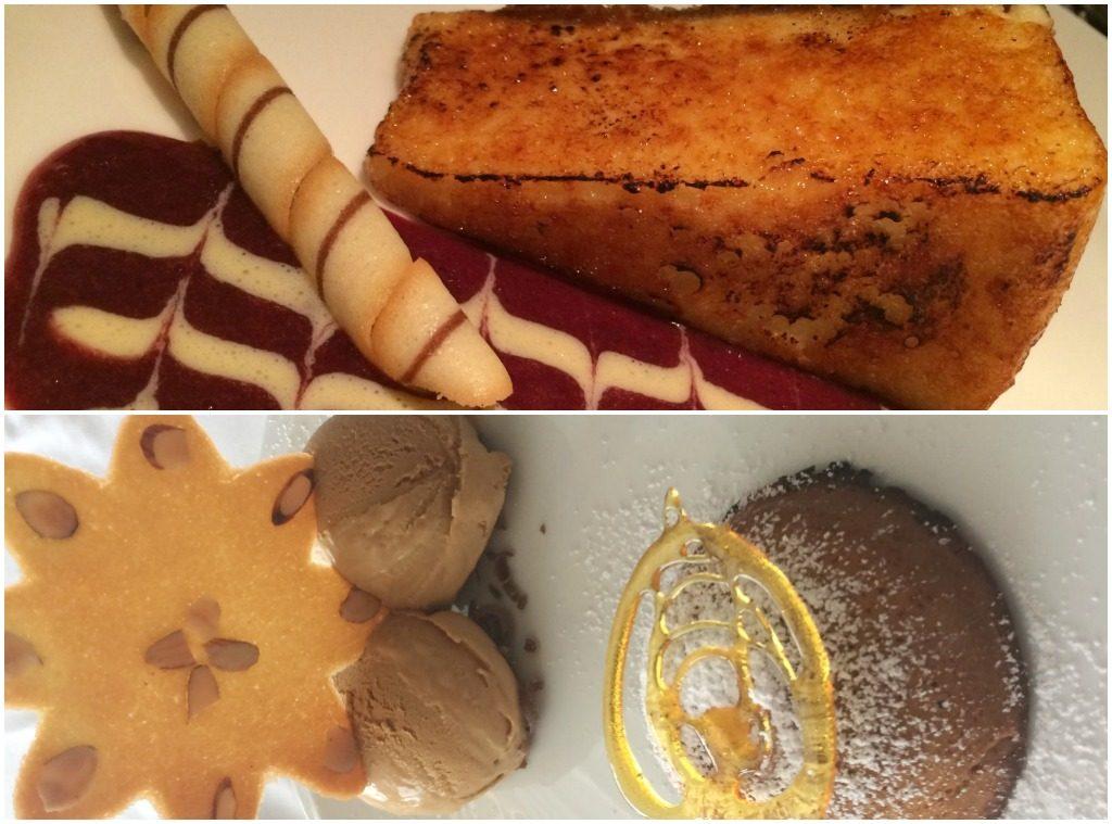 Cheesecake de crème brulée e Boccanera de doce de leite com sorvete de doce de leite, do Trattoria di Mambrino