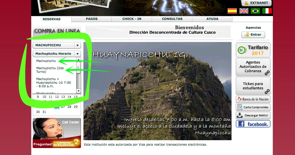 ingresso para Machu Picchu